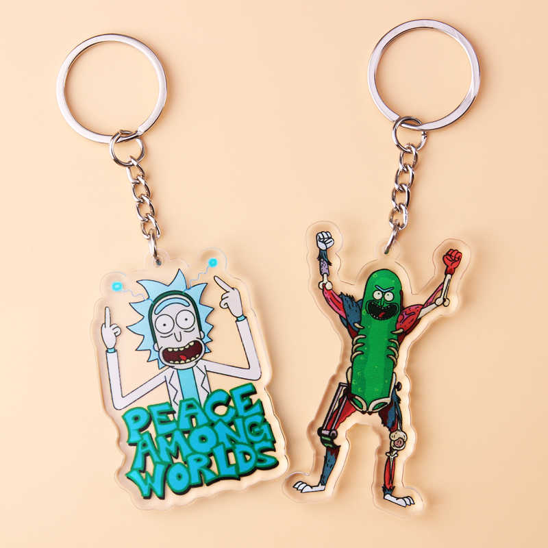 Rick And Morty Keychain Acrylic Cute Anime Cartoon Key Chain Women Men Kids Key Ring Gift Porte Clef