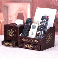 Multifunctional remote control cosmetic vintage storage box with drawer tissue storage box