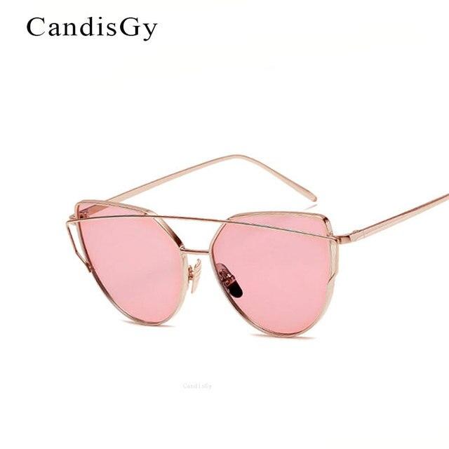 852709490a CandisGY Cat Eye Hotset Cateye Mirror Rose Gold Sunglasses Brand Designer  Women Mirror Lady Sun Glasses Dropshipping