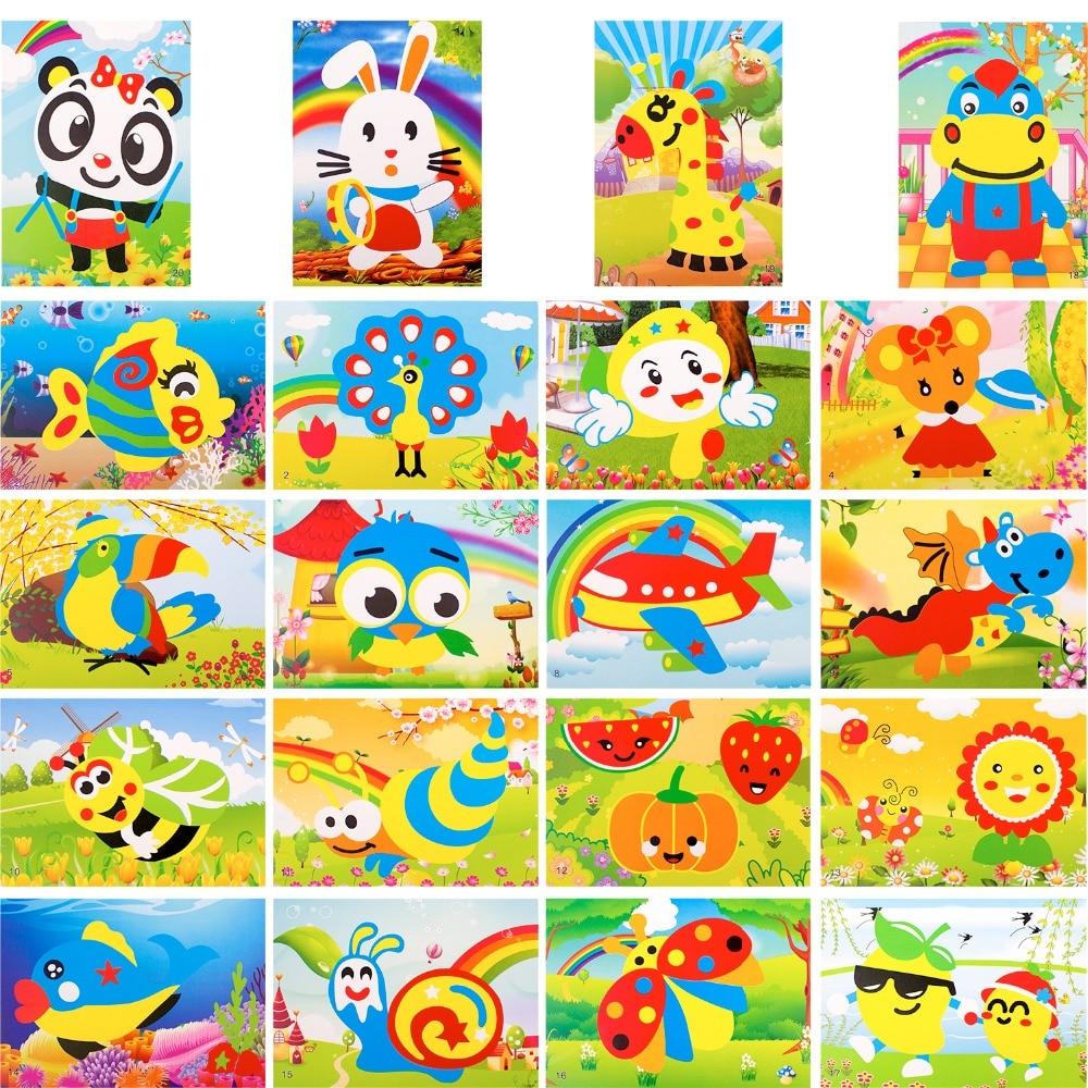 Children's Craft Activities DIY Cutters Art 19pcs Mini Foam Butterfly Child DIY EVA Sticker Toys Kindergarten Handmade Art Craft