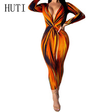 HUTI Orange Sexy Deep V-neck Long Sleeve Autumn Slim Maxi Dress Vintage Bodycon Bandage Printed Pencil Dress Women Robe Femme chic long sleeve printed waist bandage bodycon dress for women