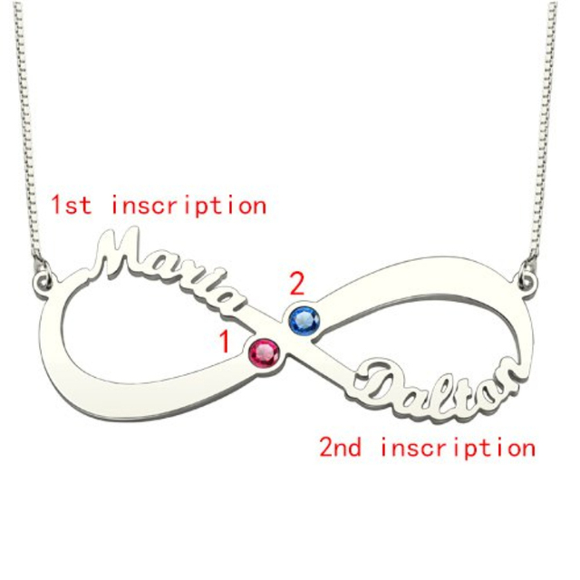 Personalised Birthstone Name Necklace 925 Sterling Silver