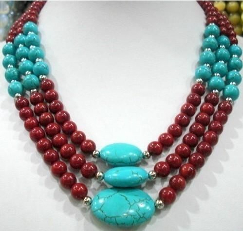 """3 row red coral & turquoise necklace 17-19"""" Women Girls Gifts Jasper Beads Round Jade Stones Beads Fashion Jewelry Making Design"""