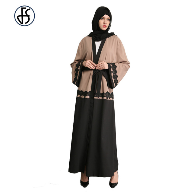 68cf23ec73 FS Turco Abaya Muçulmanos Abaya Vestido Maxi Para As Mulheres Vestes Árabes  Muçulmano Islâmico Kaftan Senhoras