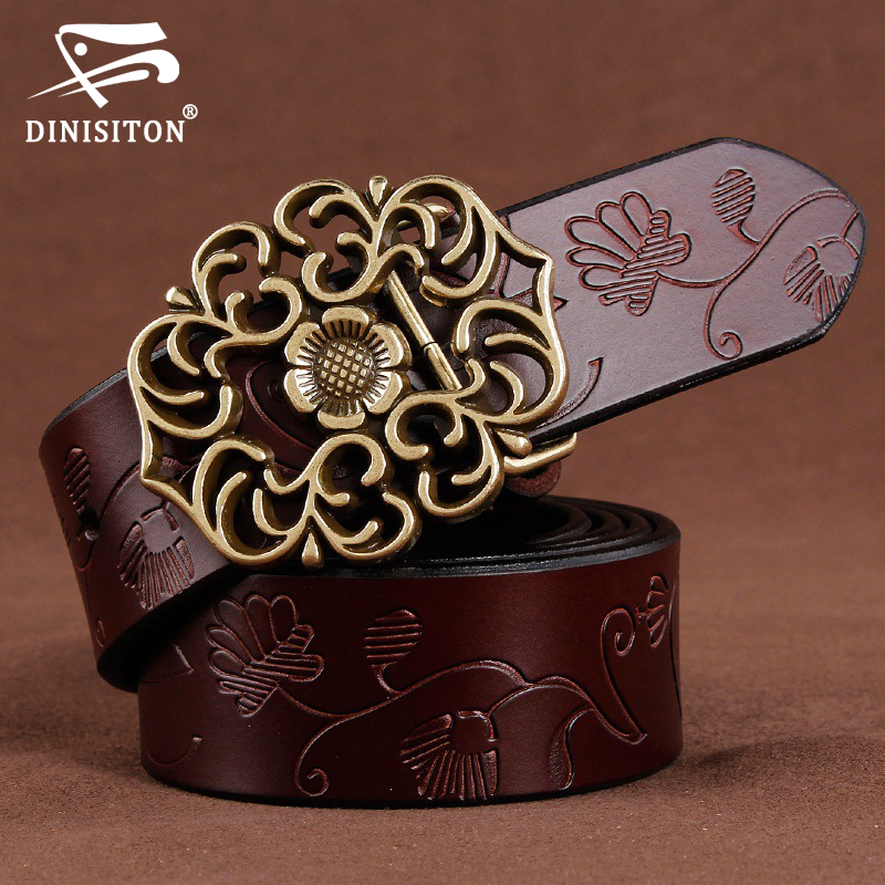 DINISITON women genuine leather belt  women's jeans belts luxury vintage high quality female belts woman cowskin strap Cinto