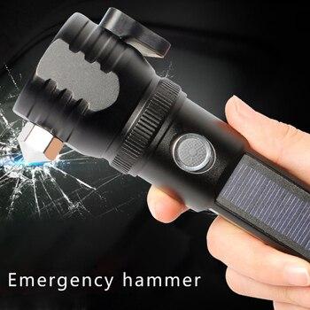 LED el feneri Su Geçirmez Açık Kamp Yürüyüş için Güneş Enerjili Torch Hammer LO88