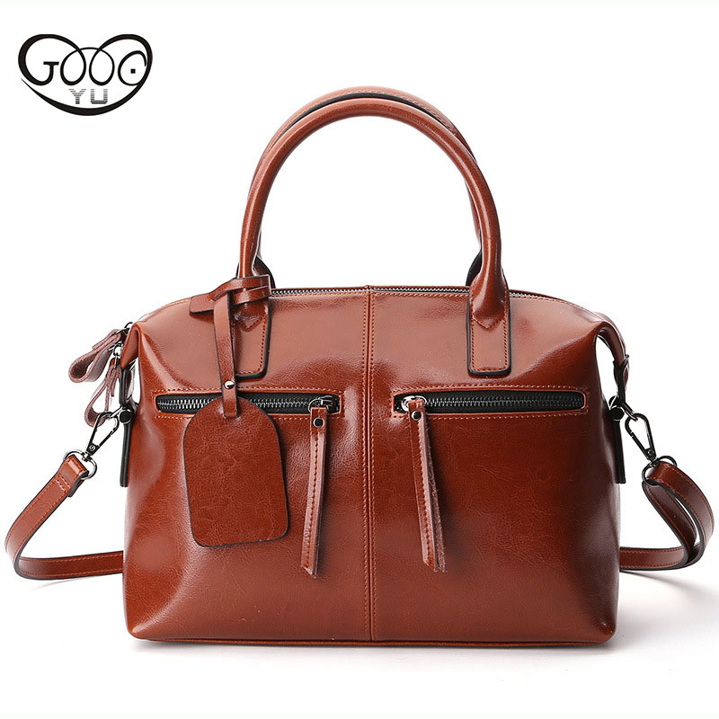 New solid color leather pillow type female package European and American fashion first layer of leather Boston shoulder diagonal qiaobao 2018 new korean version of the first layer of women s leather packet messenger bag female shoulder diagonal cross bag