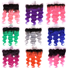 Ombre Grey Blue Red Pink Purple Orange Green Burgundy Body Wave Lace Frontal Human Hair Closure Remy Peruvian Hair