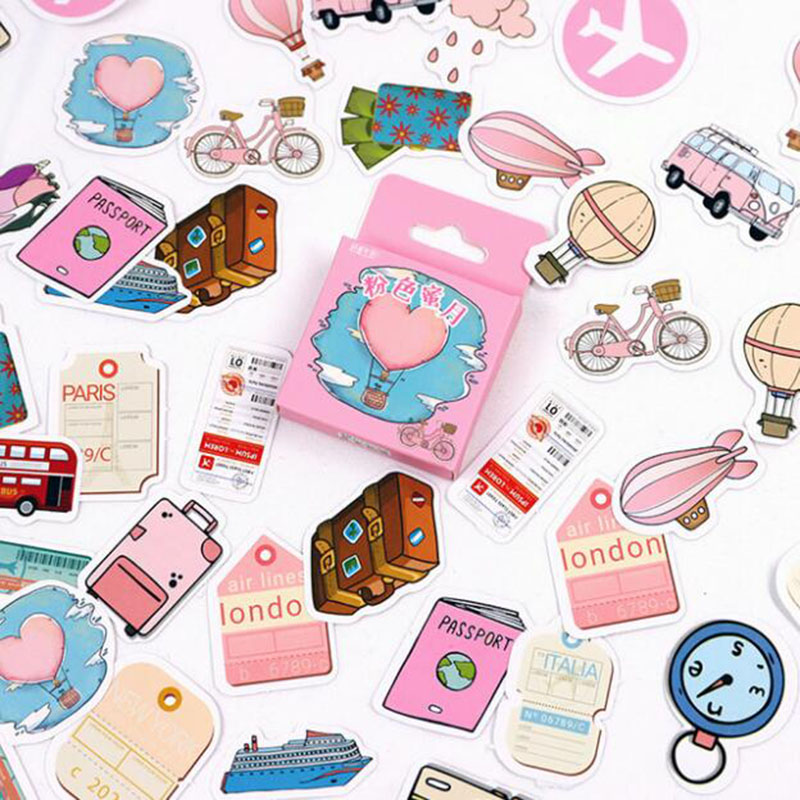 46 Pieces / Hand Account Boxed Stickers Pink Honeymoon Soft English Cute Learning Office Scrapbooking Label Sealing Stickers