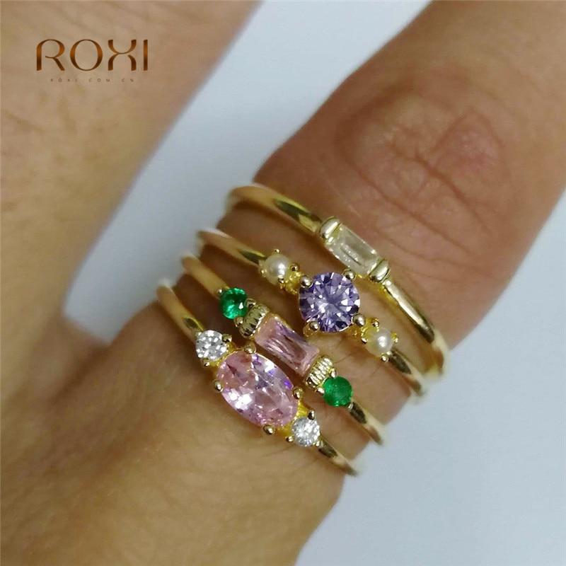 Christmas Gifts Crystal Cubic Zirconia Ring Band 4PCS//Set Engagement Wedding