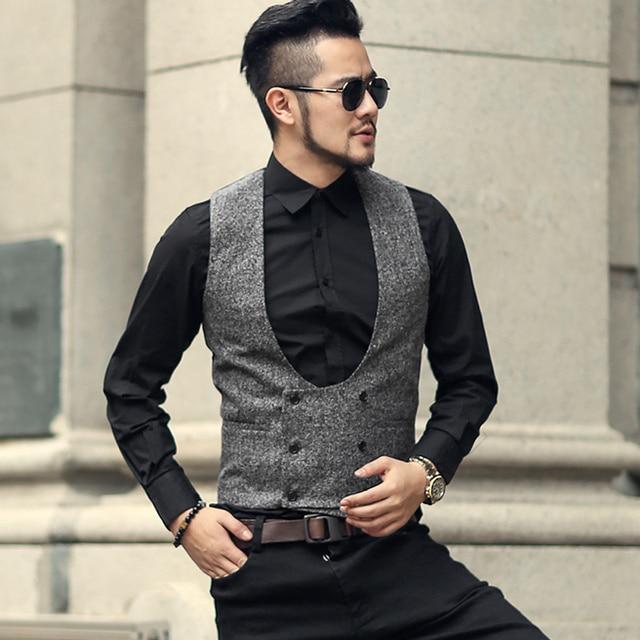914b6e52113 US $28.02 49% OFF|Mens new winter grey double breasted slim retro woolen  casual suit vest men British style solid brand design waistcoat vest  M121-in ...