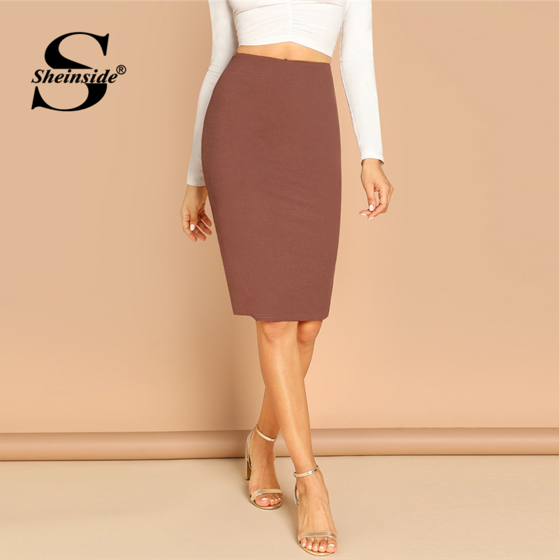 Sheinside Elegant Coffee Bodycon Midi Skirt Women 2019 Spring Mid Waist Pencil Skirts Office Ladies Workwear Solid Skirt