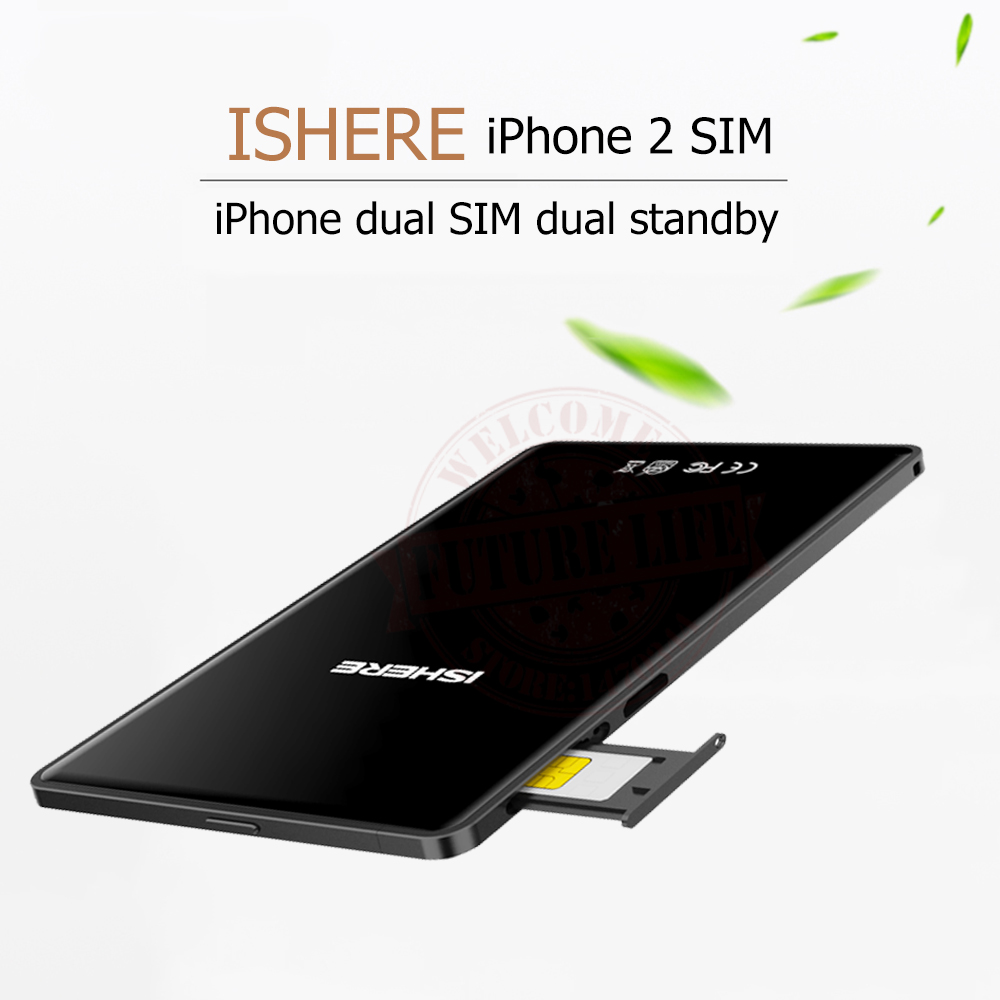 For iPhone5/6/7/8/X Ultra-thin Metal Frame Dual Sim Dual Standby Adapter SIMplus K2 with Call SMS Functions with iOS 7-11.3