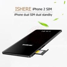 Ультра-тонкий металлический каркас dual sim двойной резервный адаптер сим плюс K2 с текст вызова функции для iPhone5/ 6/7 с IOS 7-10.3.3