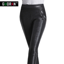 2016 Winter warm women faux leather pants & capris PU botton Snakeskin elastic high waist stretch Plus size  pencil pants female