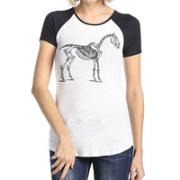 Women Horse Skeleton Fashion Top Tees Summer O Neck 100 Cotton Raglan Short Sleeve Tee Black