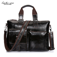 Waxed Genuine Cow Leather Man Crossbody Shoulder Bags Vintage Brown Men Handbags Messenger Bag Briefcases For
