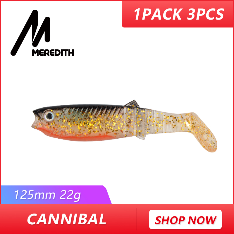 MEREDITH 3PCS 22g 12.5cm  Cannibal Soft Lures Shads Fishing Fish Lures Fishing Lures soft Fishing Baits JX62-12