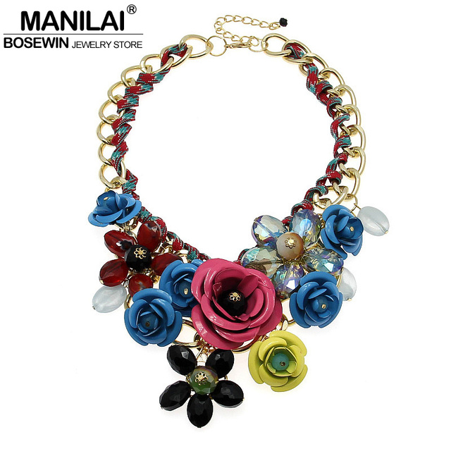 MANILAI Top Sell Fashion Accessories Women Spray Paint Metal Flower Rhinestone Crystal Bib Necklaces Statement Jewelry Maxi