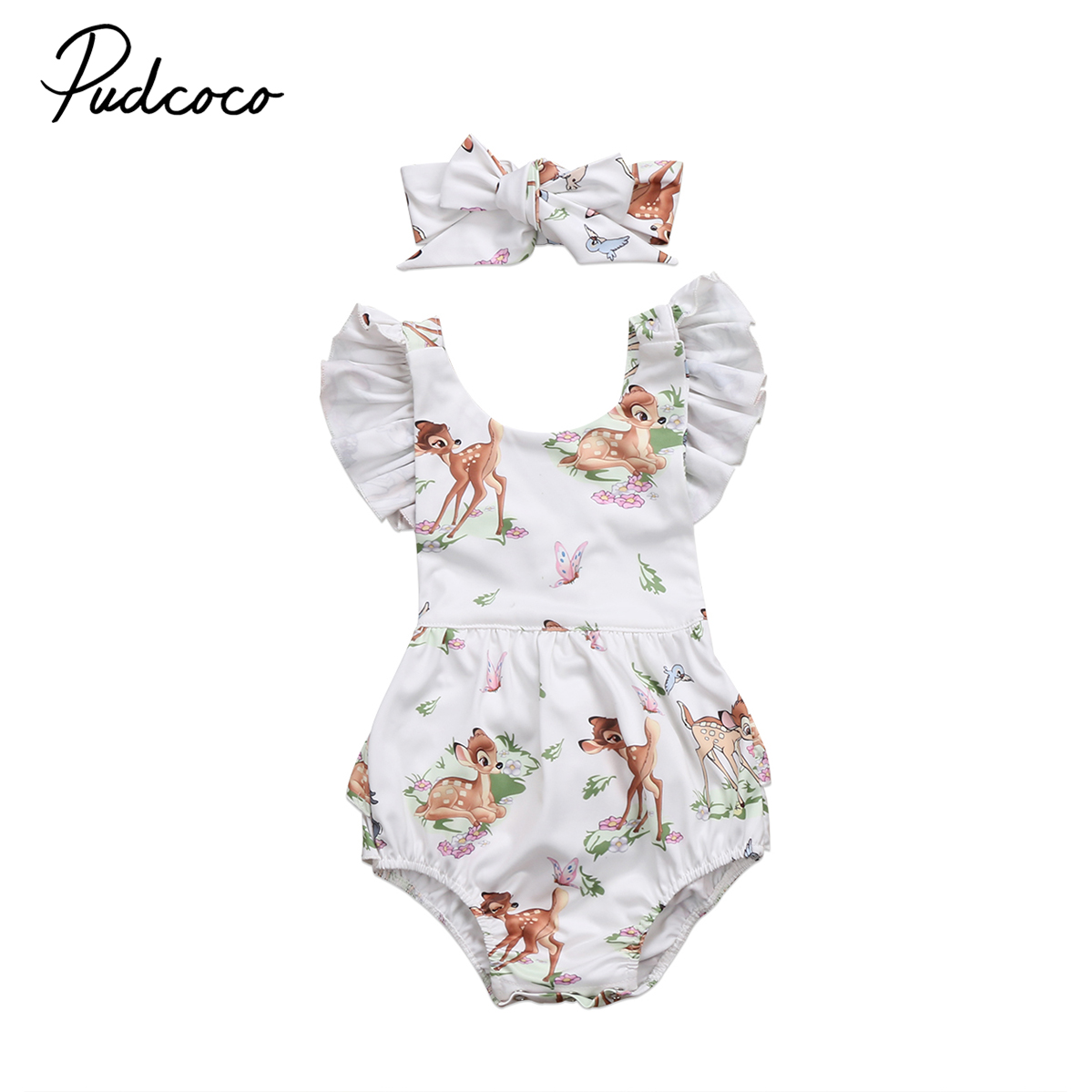 baby Clothing Toddler Infant Baby Girl Deer Sleeveless Romper Jumpsuit baby Cotton Clothes Outfit 0-2Y 2017 new sequins baby girl romper clothes summer sleeveless tutu skirted toddler kids jumpsuit outfit sunsuit princess costume