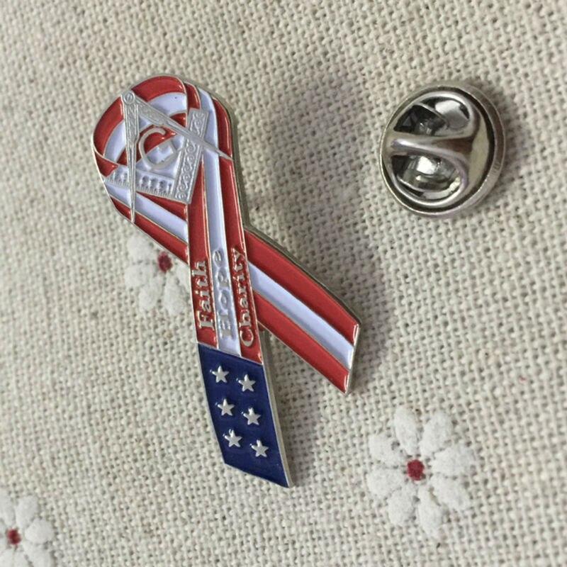 100pcs 1 masonry ribbon lapel pin us flag pin badges metal crafts faith hope charity freemasonry