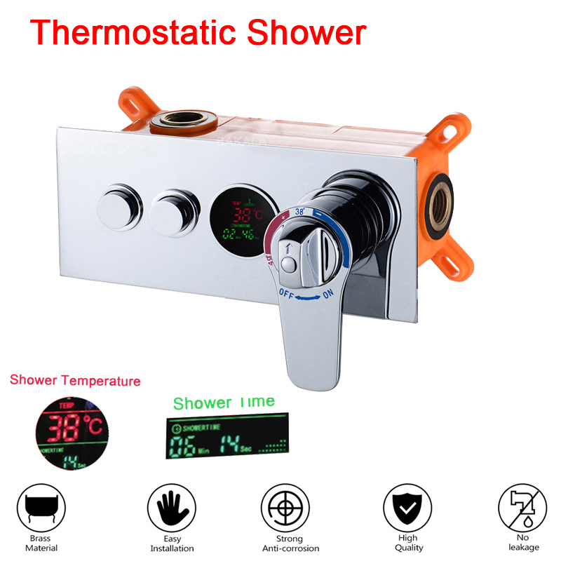 Bathroom Concealed Control Valve Thermostatic Mixing Valve Brass Wall Mounted 2 Ways Shower Panel Stainless Steel