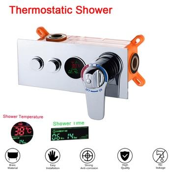Banheiro escondido válvula de controle termostática válvula mistura bronze fixado na parede 2 maneiras chuveiro painel aço inoxidável controlador