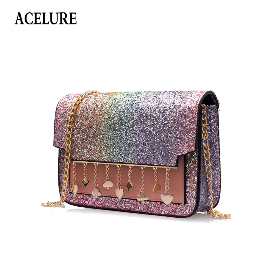 cd00a04e2f ACELURE PU Leather Luxury Mini Women Party Bag Fashion Glitter Sequined  Women Shoulder Bag Sac a Chic Chain Female Crossbody Bag