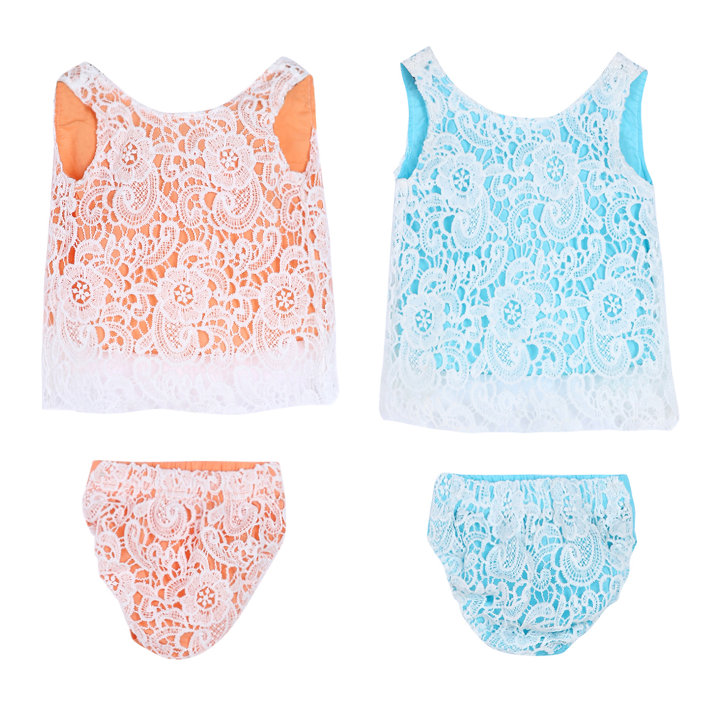2Pcs Baby Girls Lace Tops Short Pants Summer Clothes Set Fashion Girls Lace Sleeveless Tops Shorts Briefs Outfit for 3-18M Baby 2pcs children outfit clothes kids baby girl off shoulder cotton ruffled sleeve tops striped t shirt blue denim jeans sunsuit set