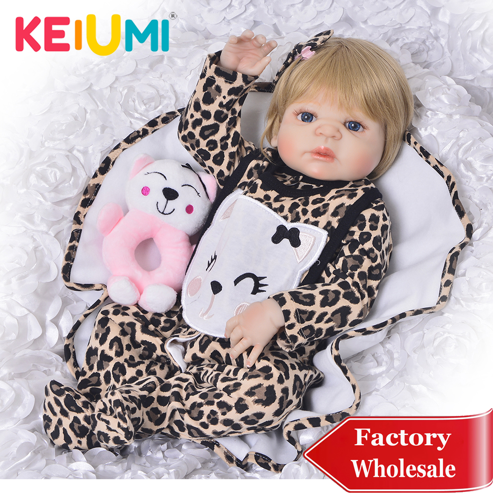 KEIUMI 23 Reborn Girl Lifelike Newborn Babies Dolls Full Body Silicone Vinyl Adorable 57 cm Alive