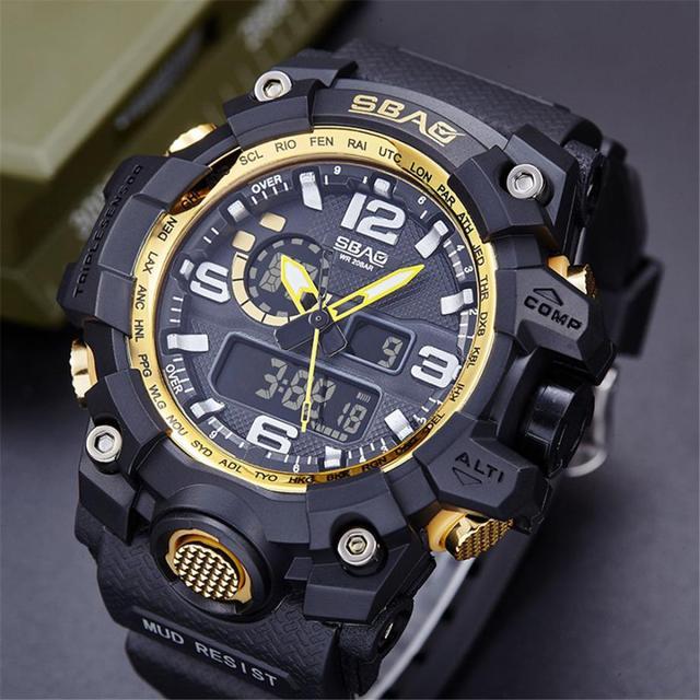 c8d9154e8bea Moda de los hombres del cuarzo del deporte reloj SBAO reloj LED hombres  impermeables relojes deportivos