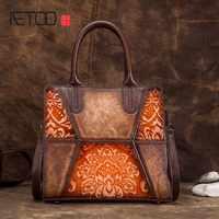 AETOO neue ankunft echtem Leder retro handtasche geprägte hand gebürstet wildleder rindsleder mode trend diagonal handtasche