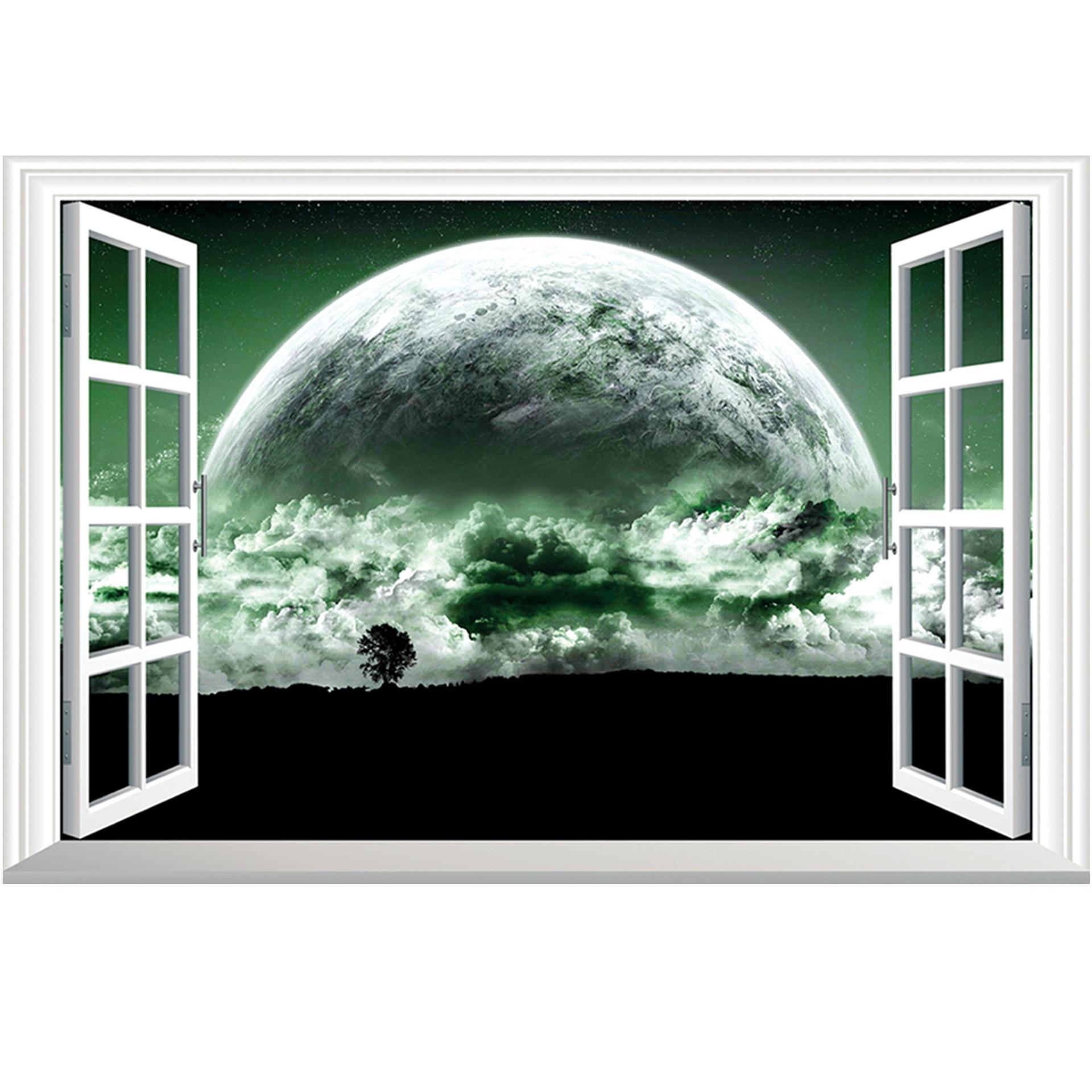 Super Planet 3d Wall Sticker Removable Window View Landscape Wallpaper Home Decor Oo 101