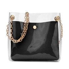Women Fashion Solid Shoulder Transparent Bag Messenger Bag C