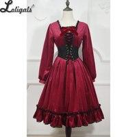 Готический стимпанк с длинным рукавом Лолита платье Винтаж вечерние партии Мисс точка ~ индивидуальный заказ