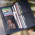 teemzone - Simple Elegant Long Cowhide Leather Wallets Men portefeuille (11 Card Slots + ID Window + 2 Cash Compartment) J35