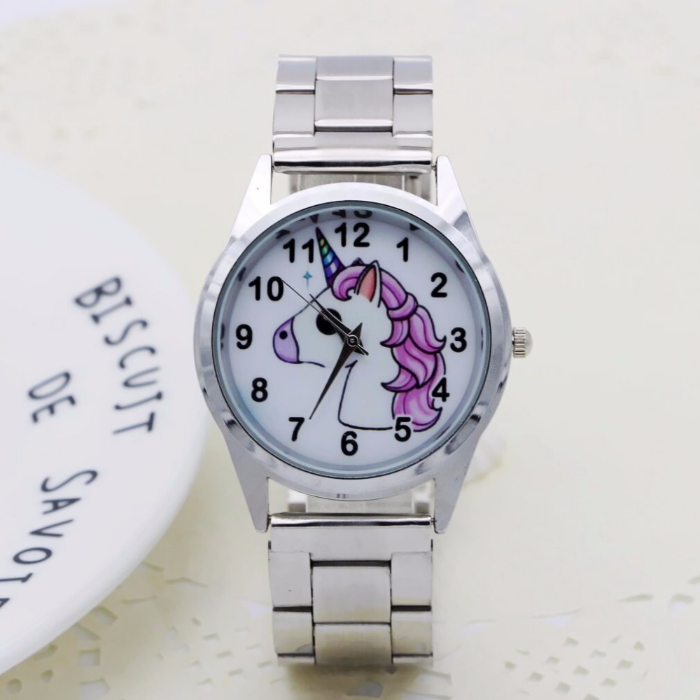 NEW Cute Cartoon Pretty Unicorn Style Children's Watches Women's Student Girls Boys Quartz Metal Steel Wrist Watch