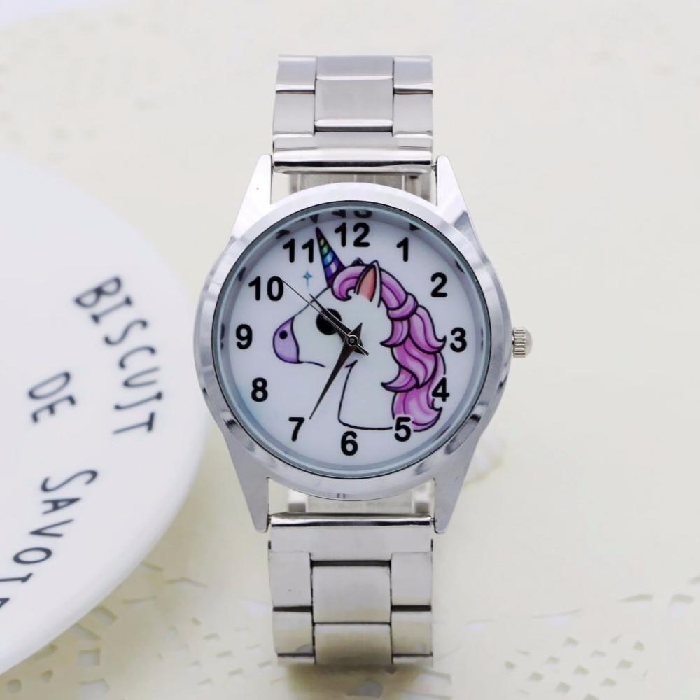 NEW Cute Cartoon Pretty Unicorn Style Children's Watches Women's Student Girls Boys Quartz Metal Steel Wrist Watch
