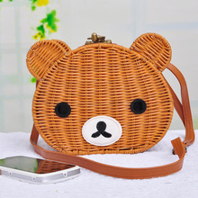 8f5ad236cbfe 2016 new brand fashion women bags designer handbags high quality straw  package superme cartoon bear rattan