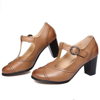 2019 spring summer new retro round head shallow mouth Genuine leather Female high heels Large size Women shoes Mary Jane shoes 4