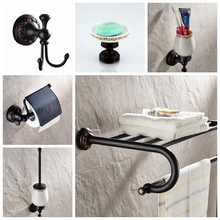 Bathroom Accessories Set Hardware Towel Shelf Soap Holder Toilet Brush Holder Toilet Paper Holder Oil Rubble Bronze Finished bathroom hardware accessories chrome single towel bar rail toilet paper holder shower soap dish pump brush holder glass shelf