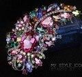 "4.9"" Huge Elegant Multicolored Rhinestone Crystal Diamante Large Gift Bridal Brooch For Wedding"