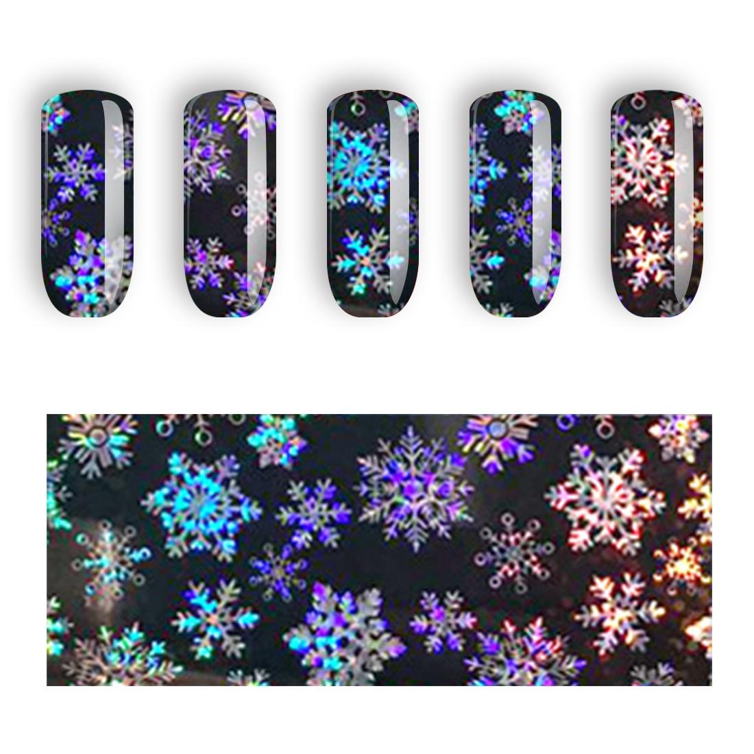 1PC A Roll Black Laser Paper Nail Art Transfer Sticker Christmas Slider Decoration Snowflake Holographic Nail Foil 120cm*4cm