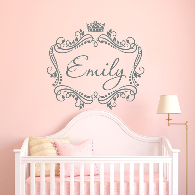 Baby girls name custom made wall decal princess crown vinyl decal sticker frame personalized kids nursery