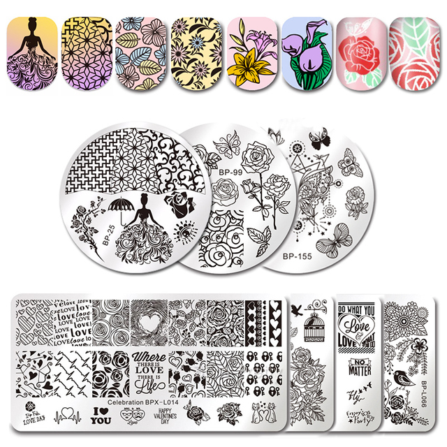 born pretty love theme nail art stamping template rose flower couple