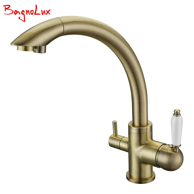 New Solid Brass Swivel 3 in 1 Drinking Water Kitchen Faucets Robinet Para Torneira Wels Sink Mixer Tri Flow 3 Way Filter Taps