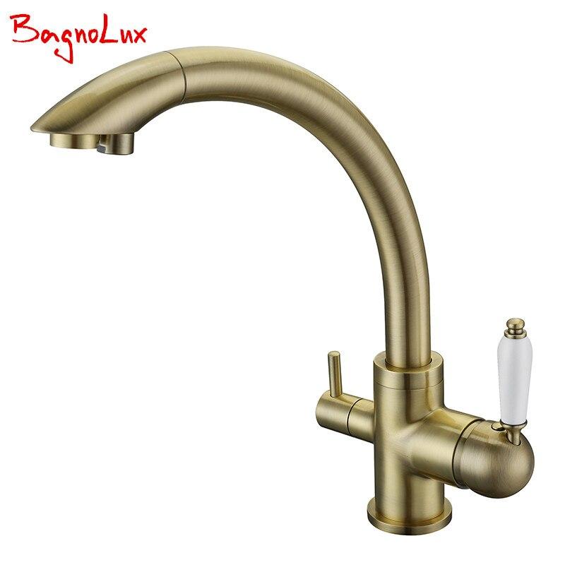 Nouveau robinets de cuisine en laiton massif pivotant 3 en 1 eau potable Robinet Para Torneira Wels évier mélangeur Tri débit 3 voies robinets filtrants