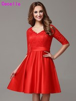 Red Country Modest Short Bridesmaid Dresses Half Sleeves Vintage Lace Knee Length Informal Rustic Wedding Party