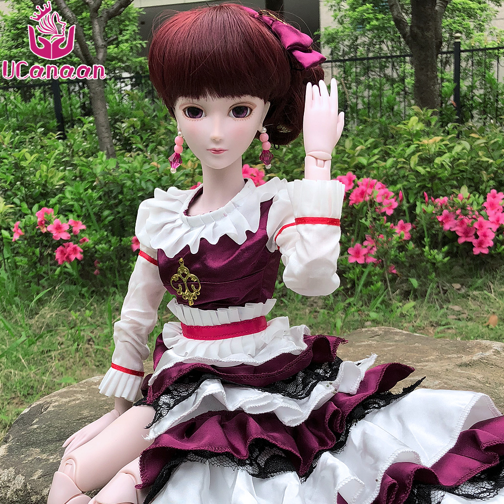 UCanaan 60CM Large BJD Doll Girls Princess Toys With Outfits SD Model Handmade Children Birthday Gifts DIY Dressup Dolls 60cm bjd 1 3 dolls 23 inches handmade fuyao baiqian huaqiangu doll large joint sd princess doll girls toys birthday gift