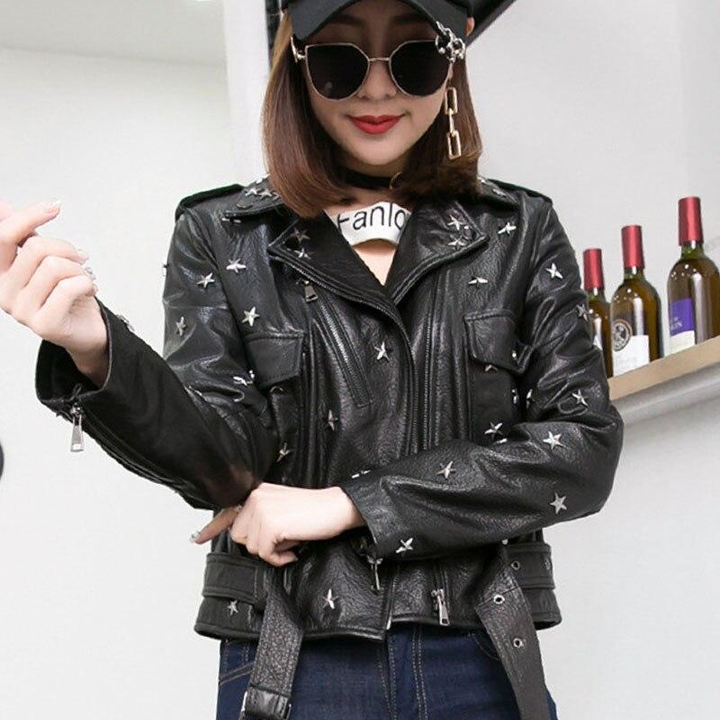 Rivet Femme Zipper Veste Punk Noir Courte Véritable Des Jaqueta Nouvelle Vestes  2018 Style En Longues Biker Black Femmes Cuir Manches Couro Mode qqwRZ4Uz b1f2f6e1a42b